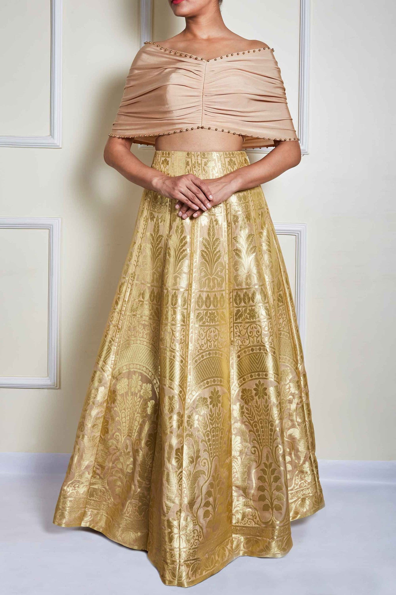 Cream Banarasi Skirt Set Front