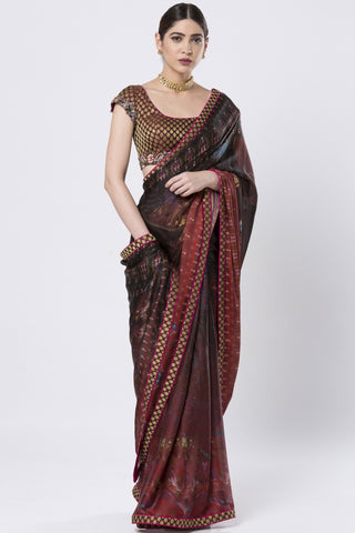 Brocade & Hand Embroidered Maroon Saree FRONT