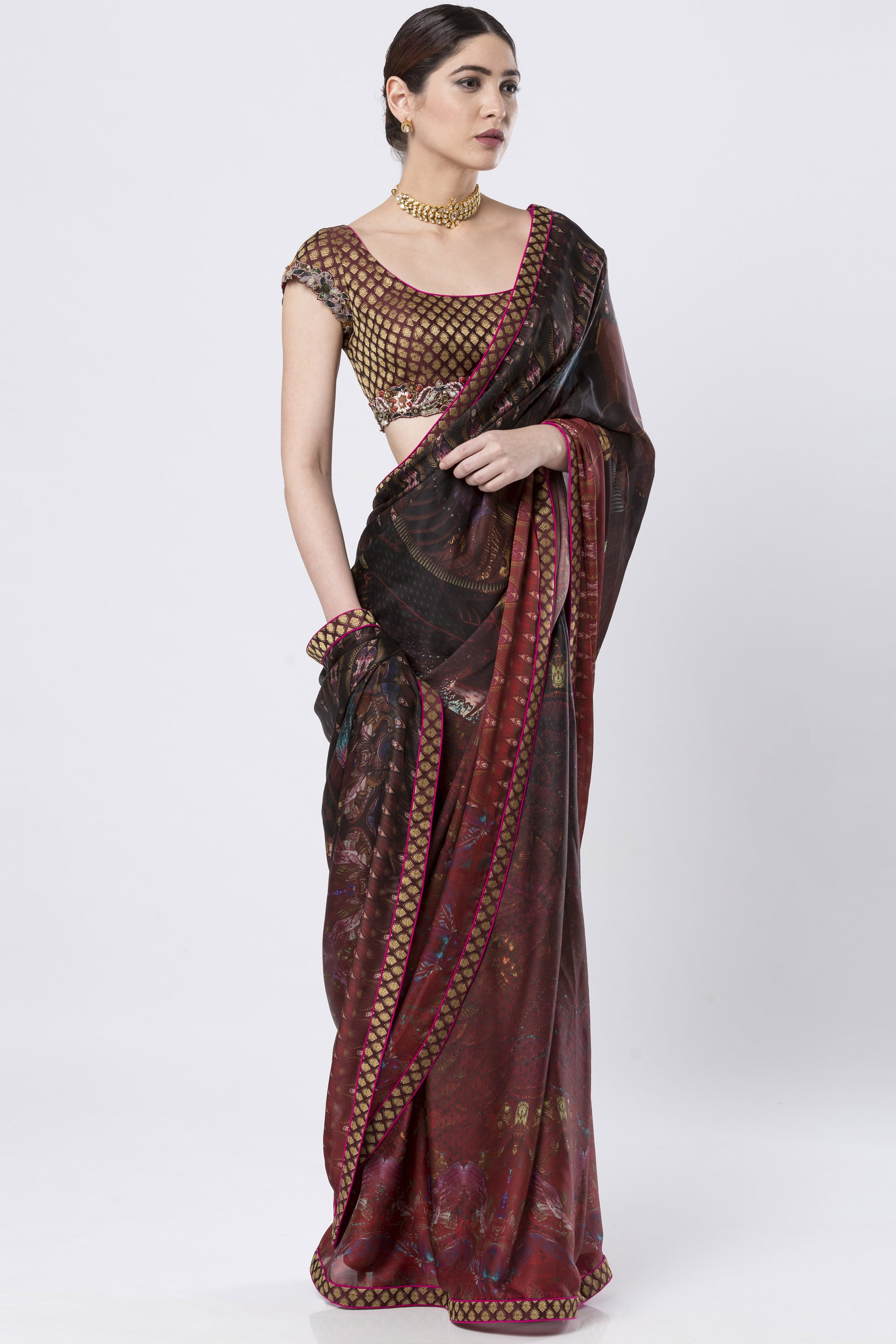 Brocade & Hand Embroidered Maroon Saree SIDE
