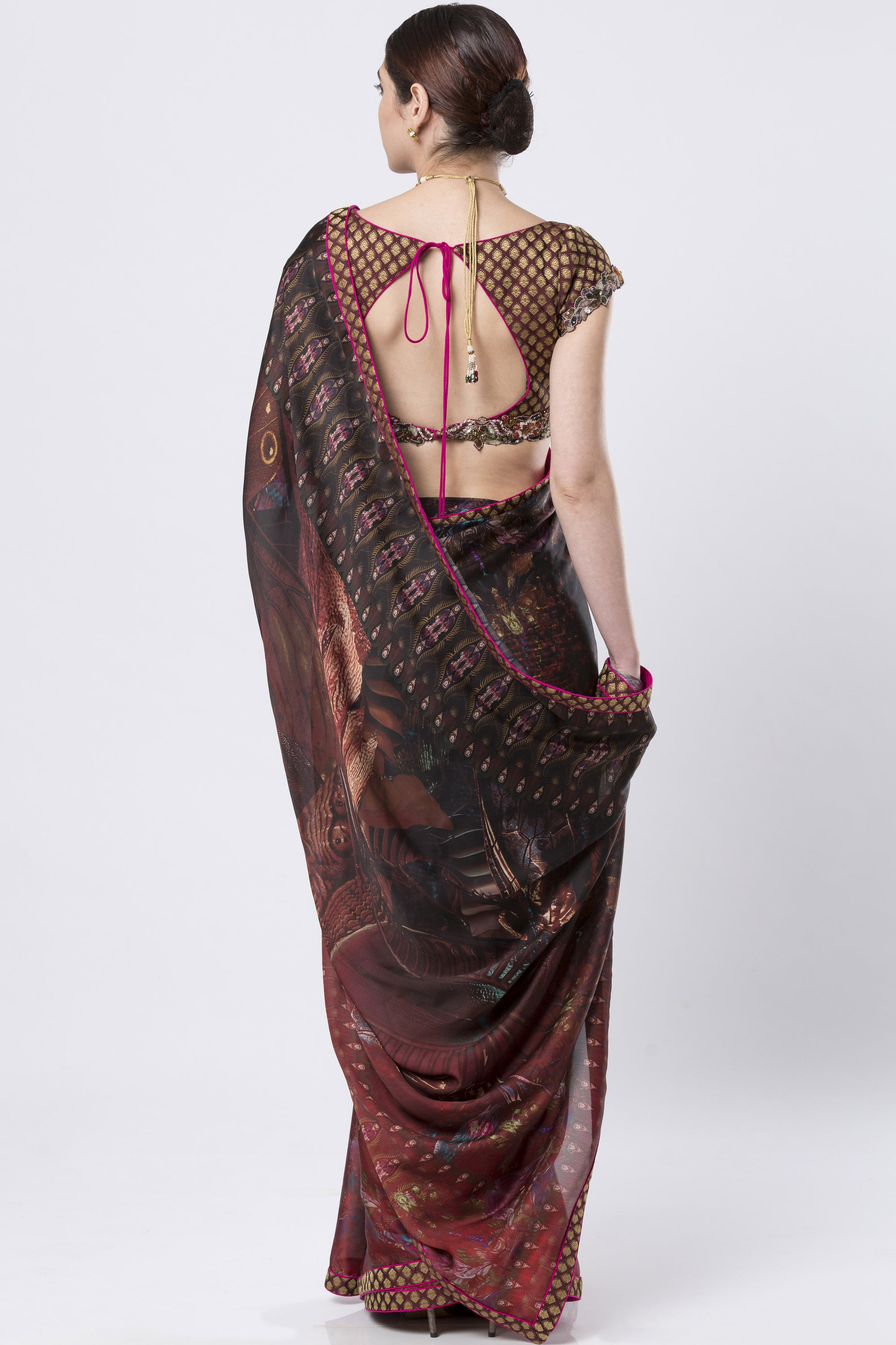 Brocade & Hand Embroidered Maroon Saree BACK