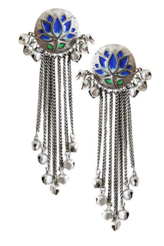 Blue Lotus Silver Tassel Earrings