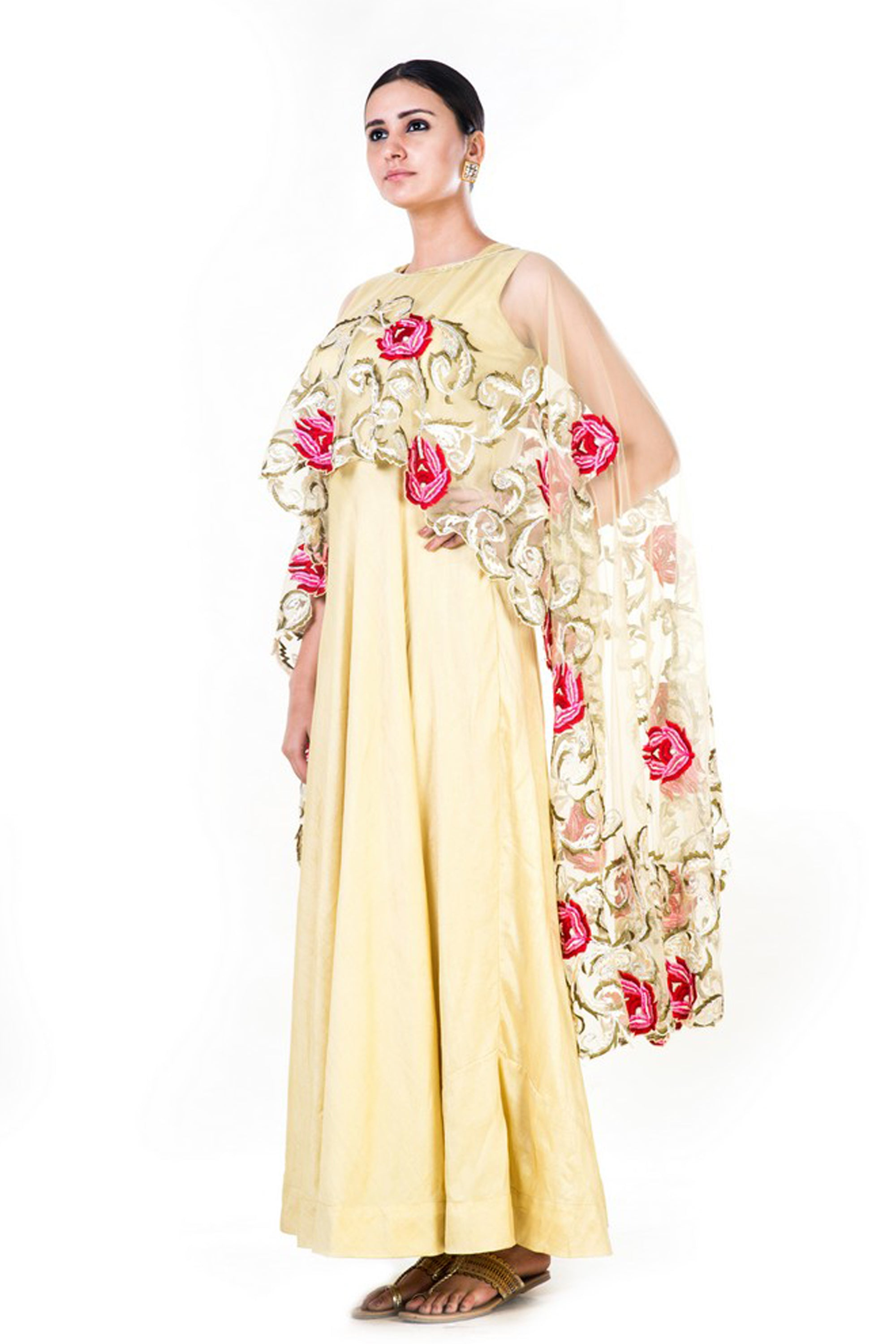 Embroidered Yellow Gown With Floral Work Cape