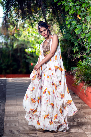 Off White Lehenga Cape Set FRONT