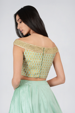 Sea Green Brocade Off Shoulder Top With Round Flare Skirt Lehenga Set