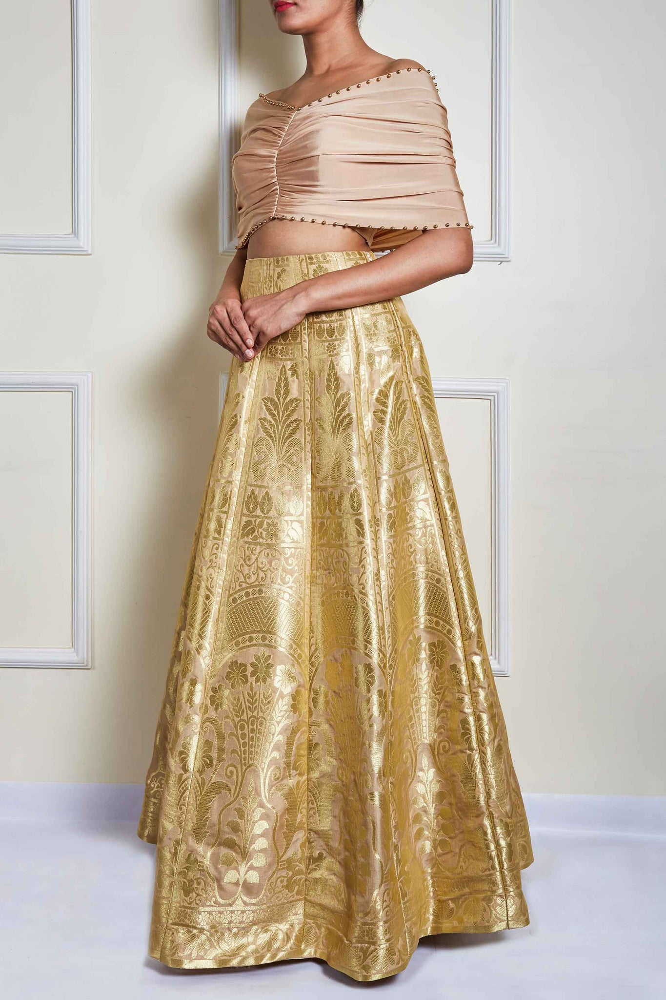 Cream Banarasi Skirt Set Side