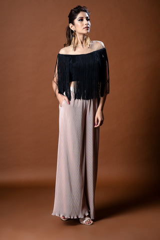 Black Fringe Top & Gold Pleated Pallazos FRONT