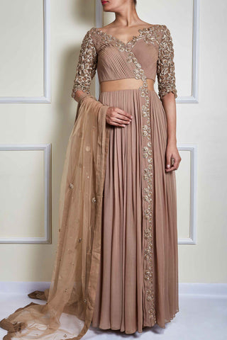 Beige Angrakha Anarkali With Dupatta Front