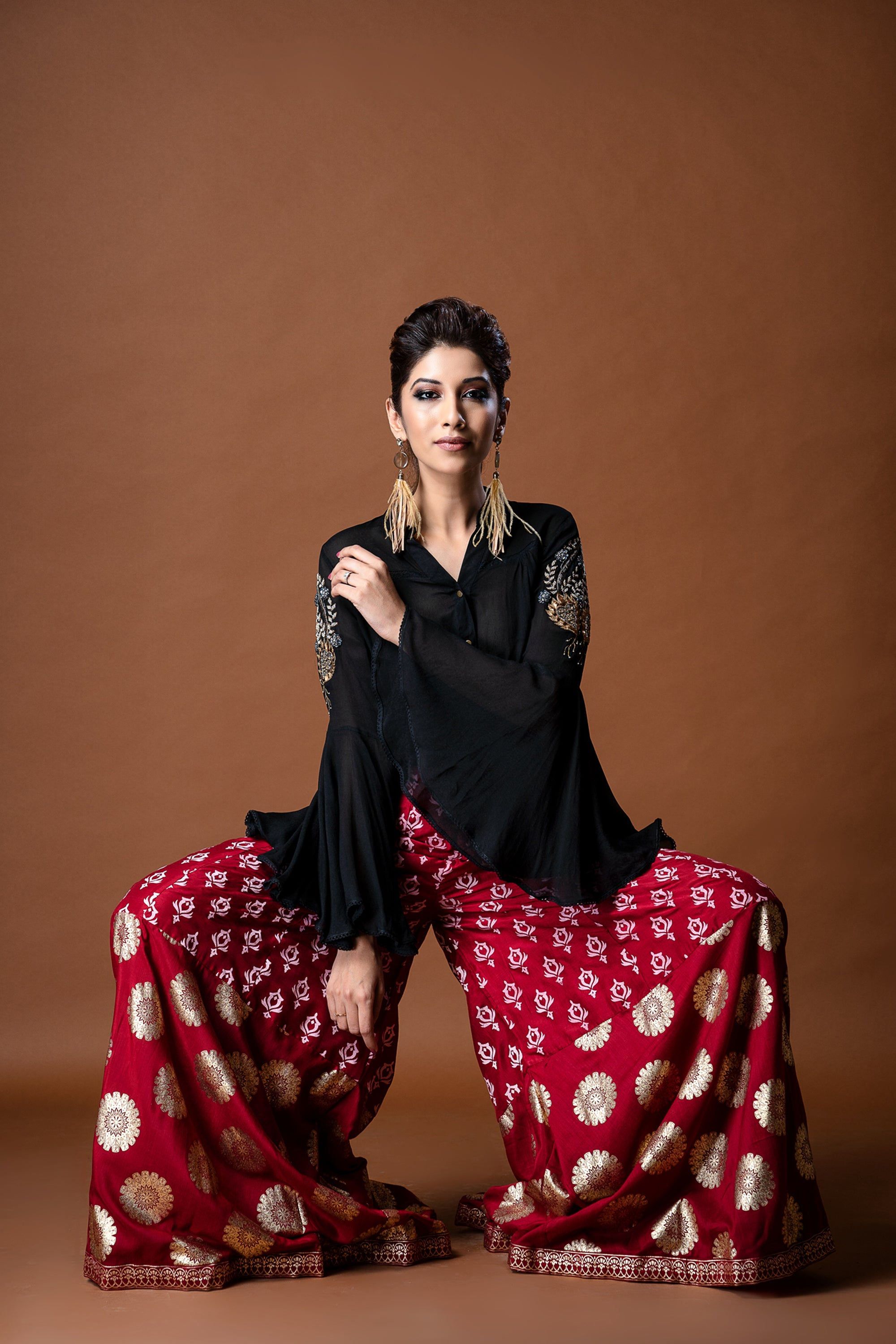 Black Bell Sleeves Shirt Withred Foil Print Pallazos FRONT