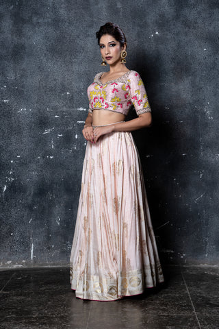 Nude Pink Embroidered Foil Print Lehenga Set FRONT