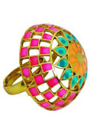 Pink Jali Dome Ring