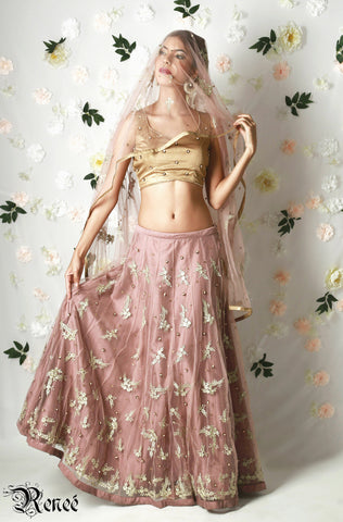 Dusty Pink & Gold Lehenga with Dupatta