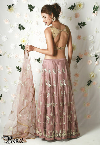 Dusty Pink & Gold Lehenga