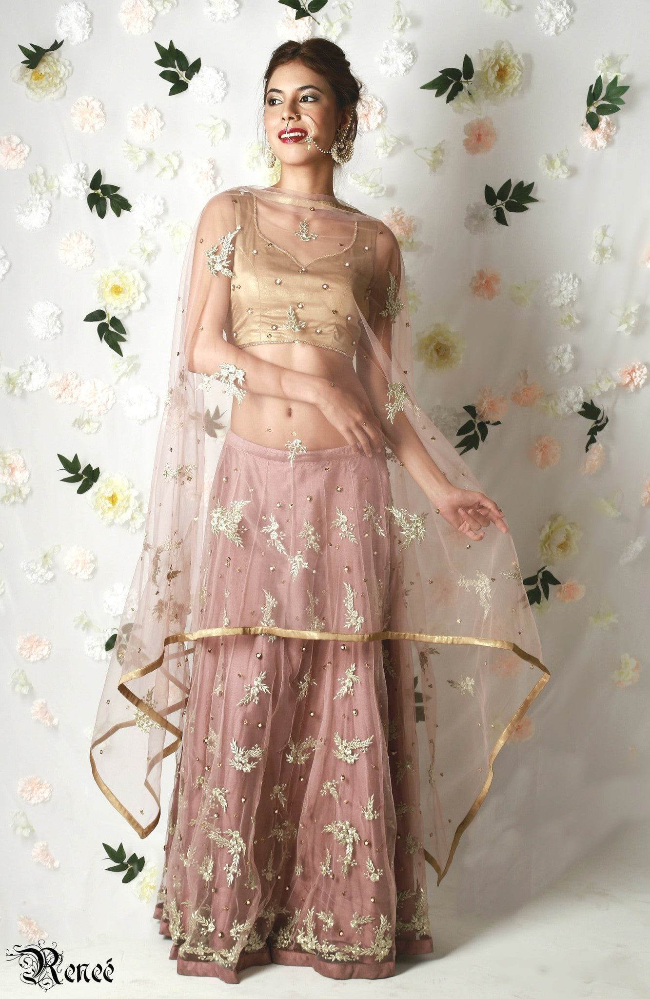 Dusty Pink & Gold Lehenga with Dupatta Front