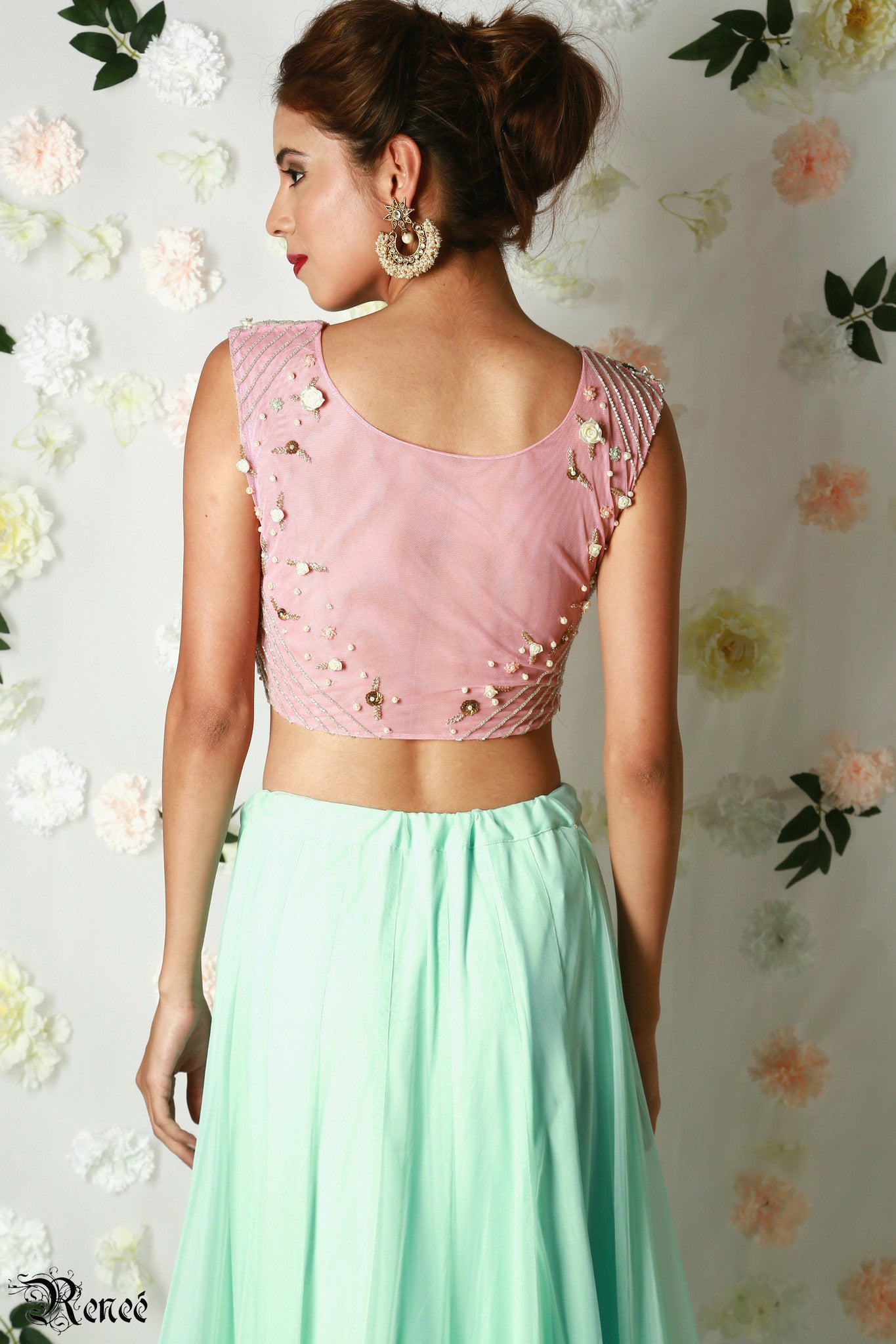 Blush Pink & Mint Green Lehenga Back