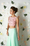 Blush Pink & Mint Green Lehenga Side