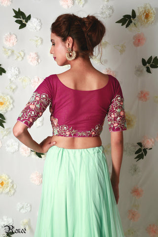 Wine & Mint Green Lehenga
