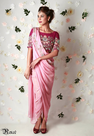Wine & Carnation Pink Draped Saree