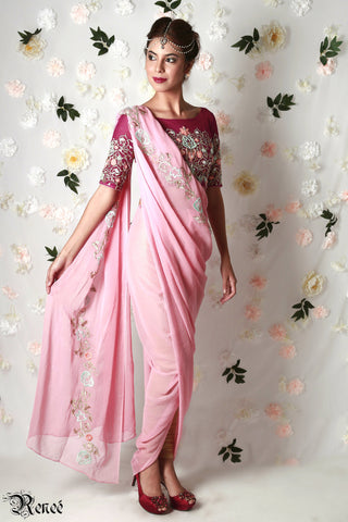 Wine & Carnation Pink Concept Saree