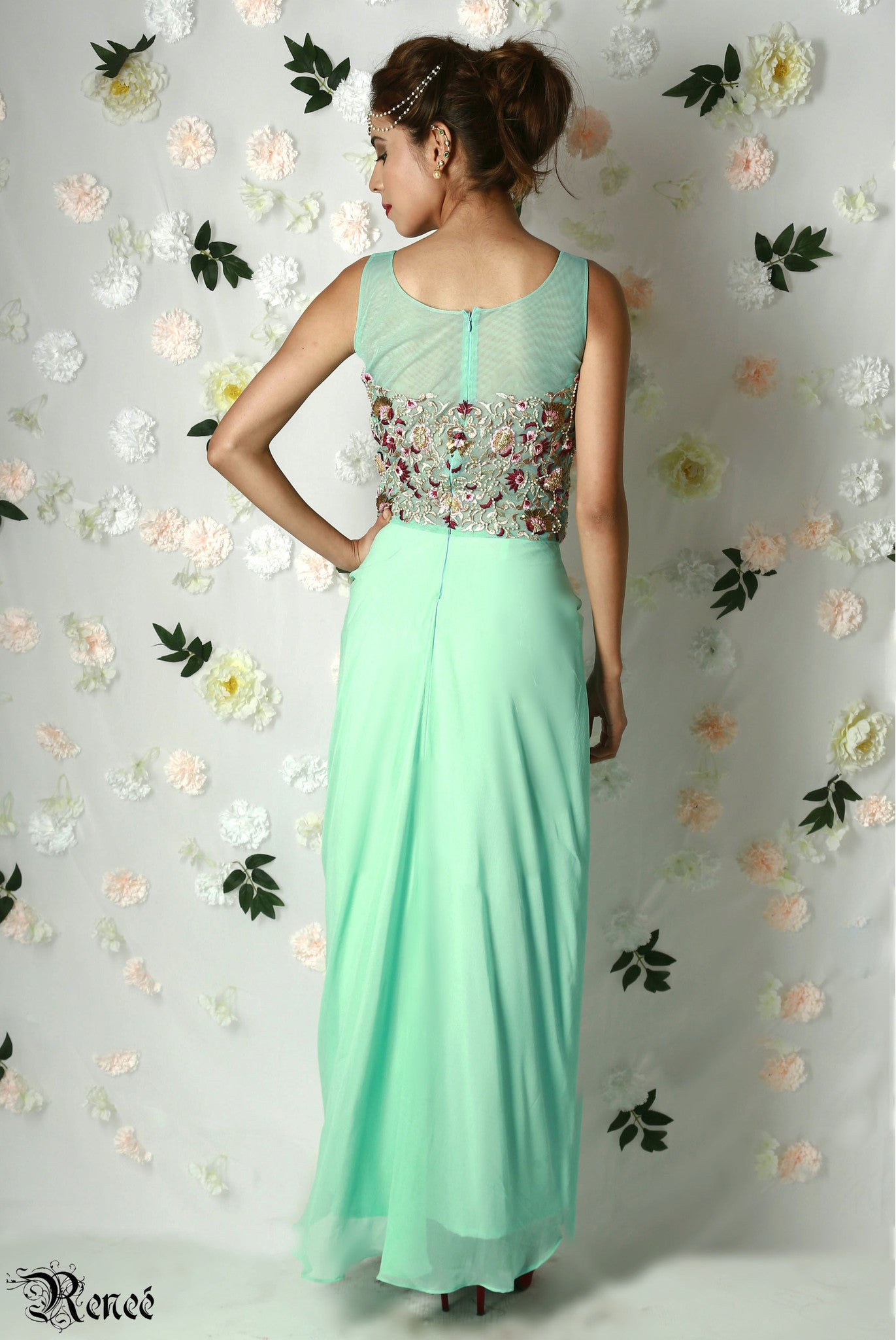 Mint Green Draped Gown Back