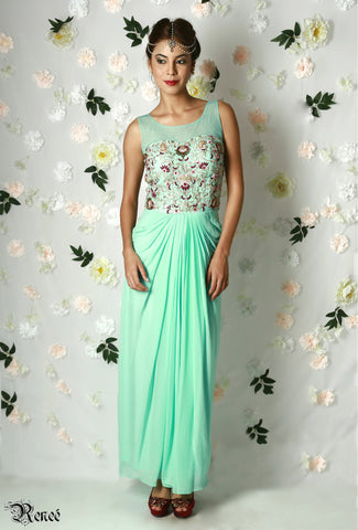 Mint Green Draped Gown
