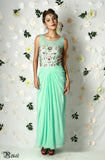 Mint Green Draped Gown Front