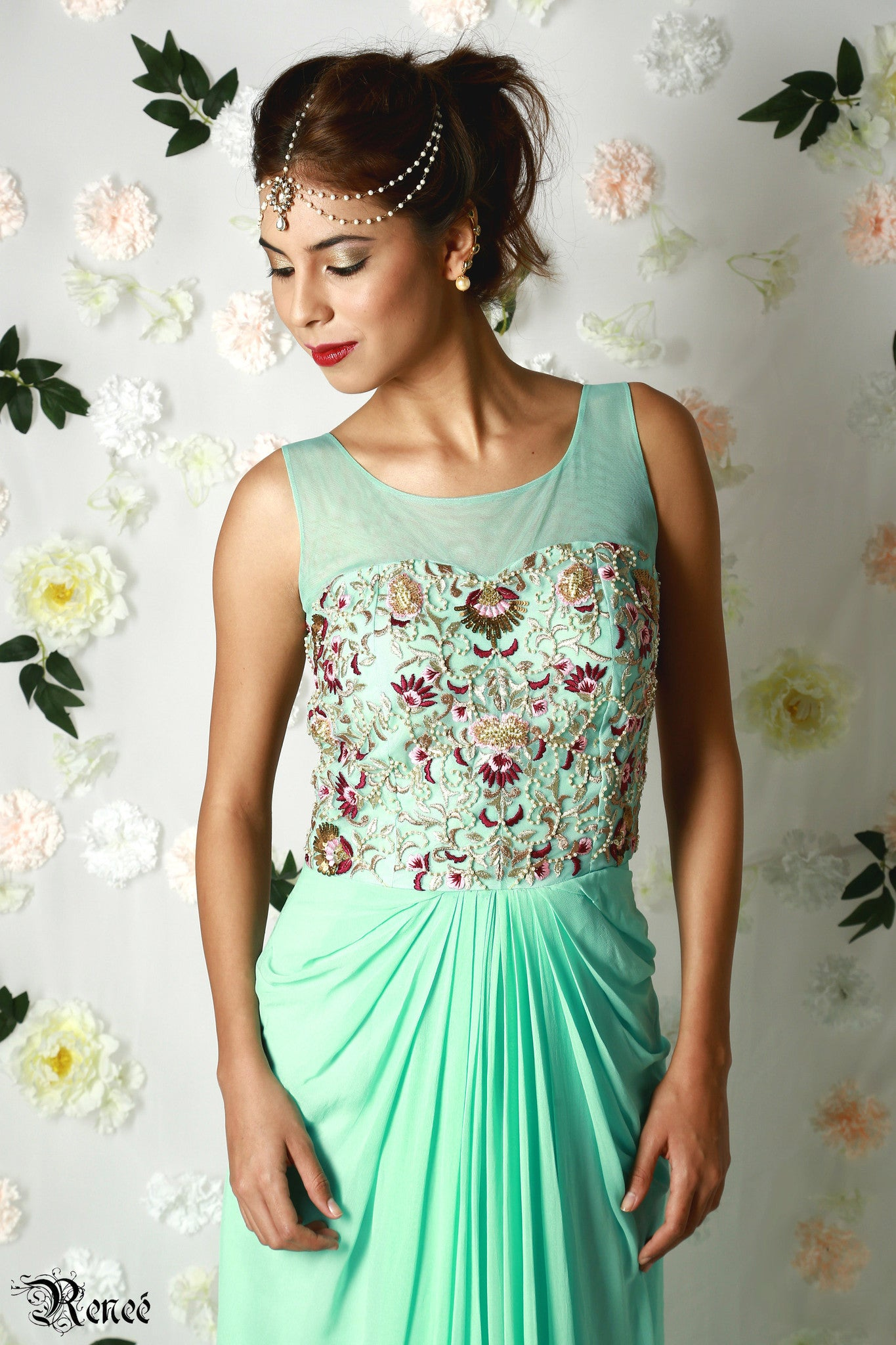 Mint Green Draped Gown Close-Up