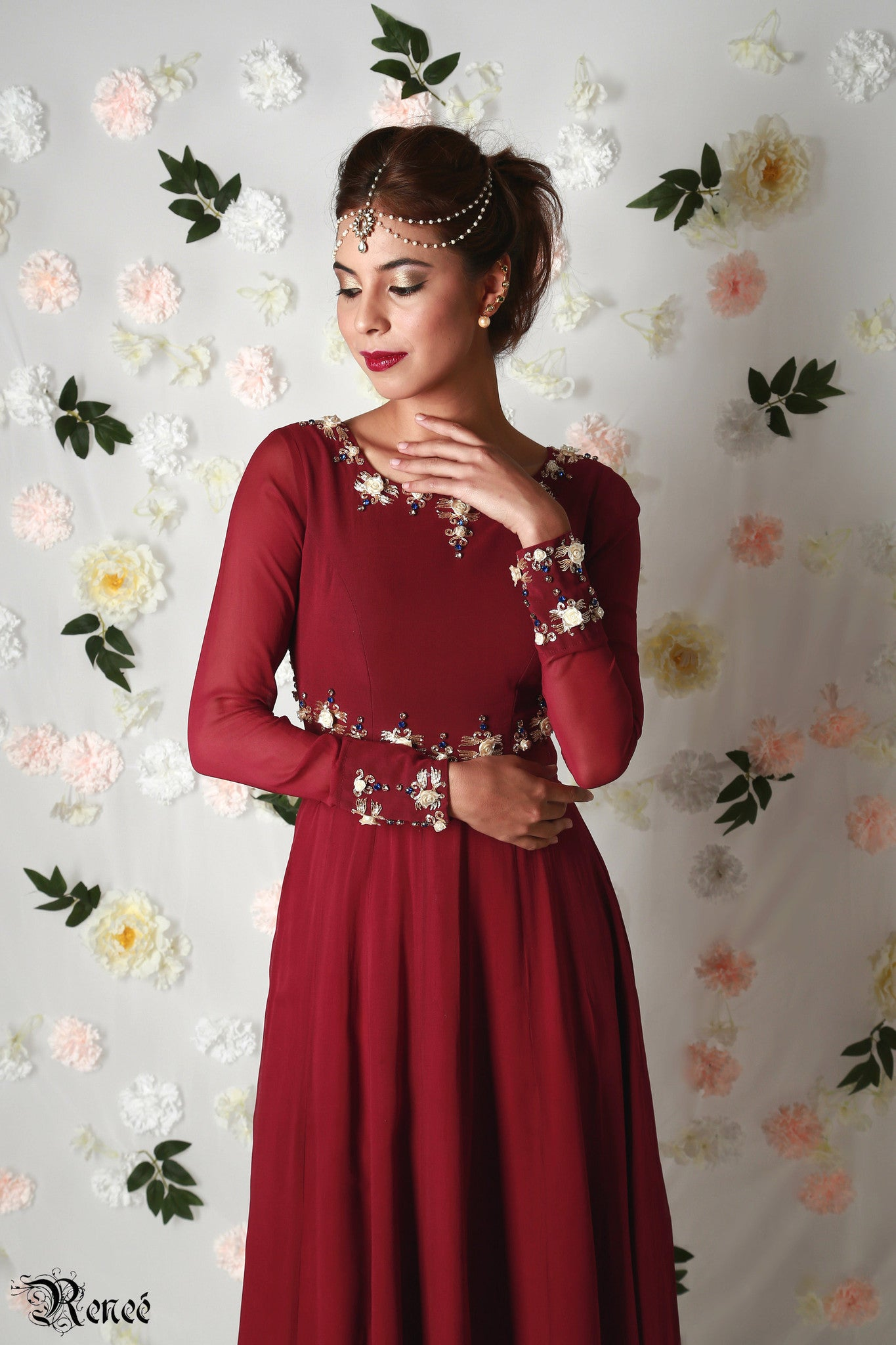 Marsala Anarkali Close-Up