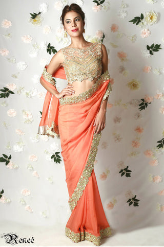 Tangerine Orange Gold Saree