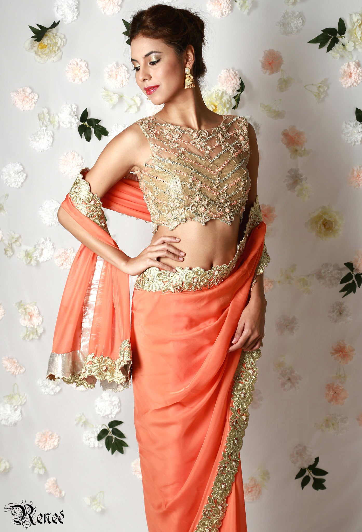 Tangerine Orange Gold Saree Close-Up
