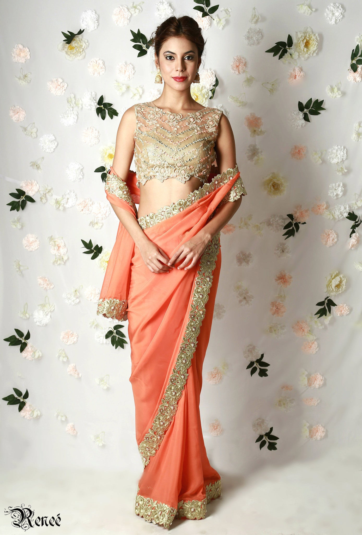 Tangerine Orange Gold Saree Front