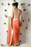 Tangerine Orange Gold Saree Back