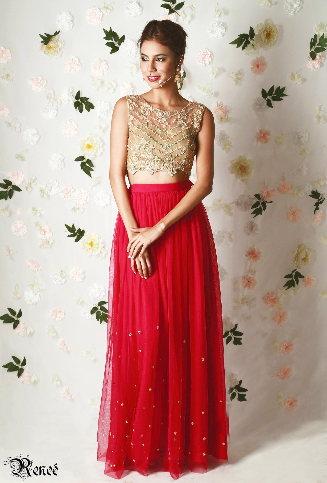 Gold & Red Lehenga Front
