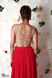 Gold & Red Lehenga Back