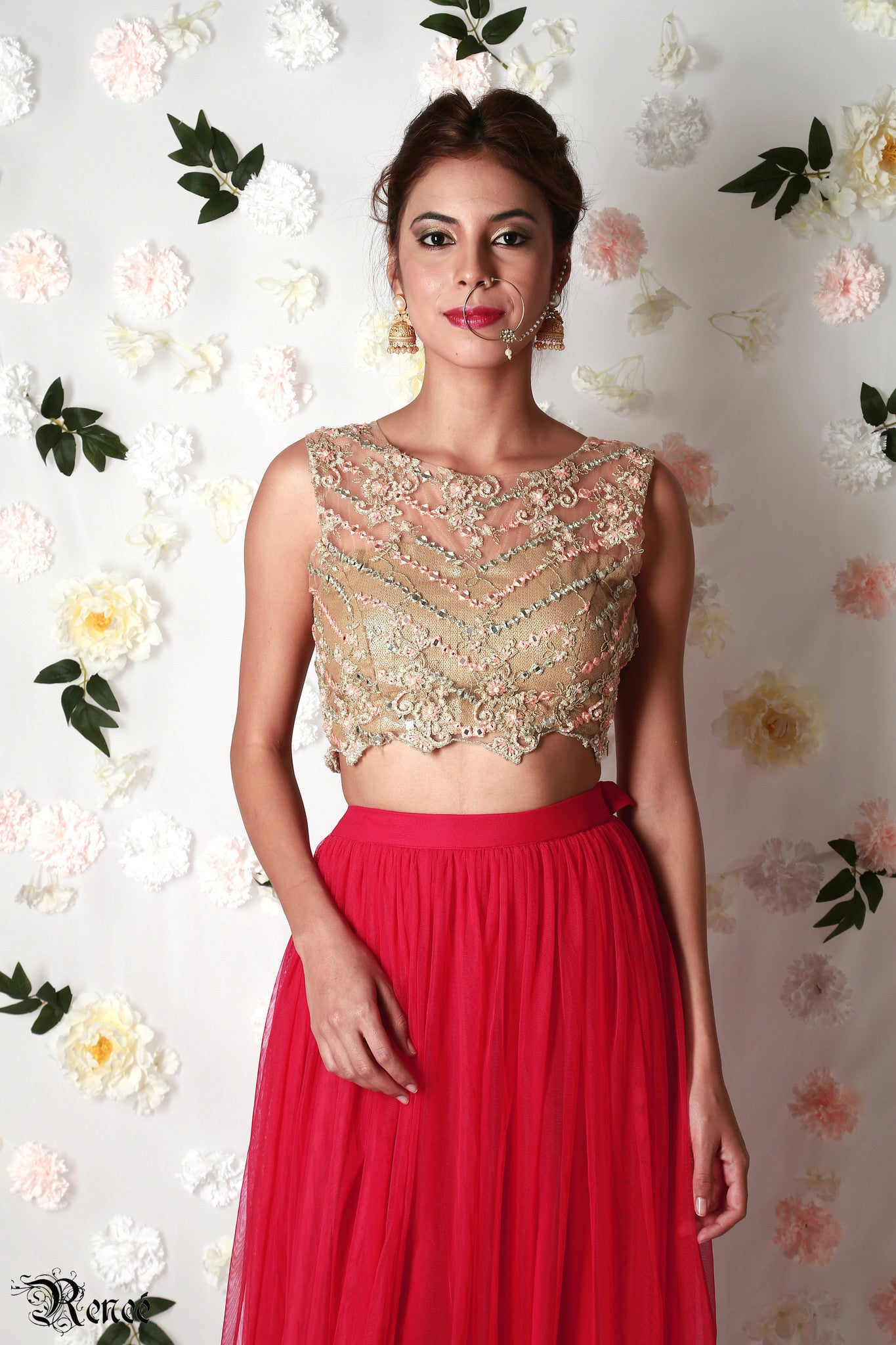 Gold & Red Lehenga Close-Up