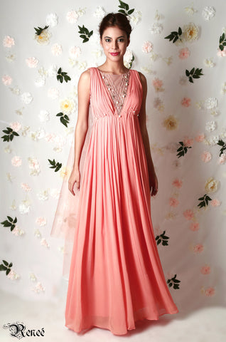 Reneé Rose Pink Pleated Gown Front