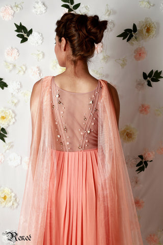 Coral Pleated Gown