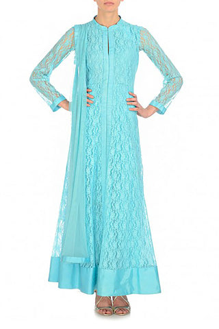 Aqua Mirror-work Anarkali Front