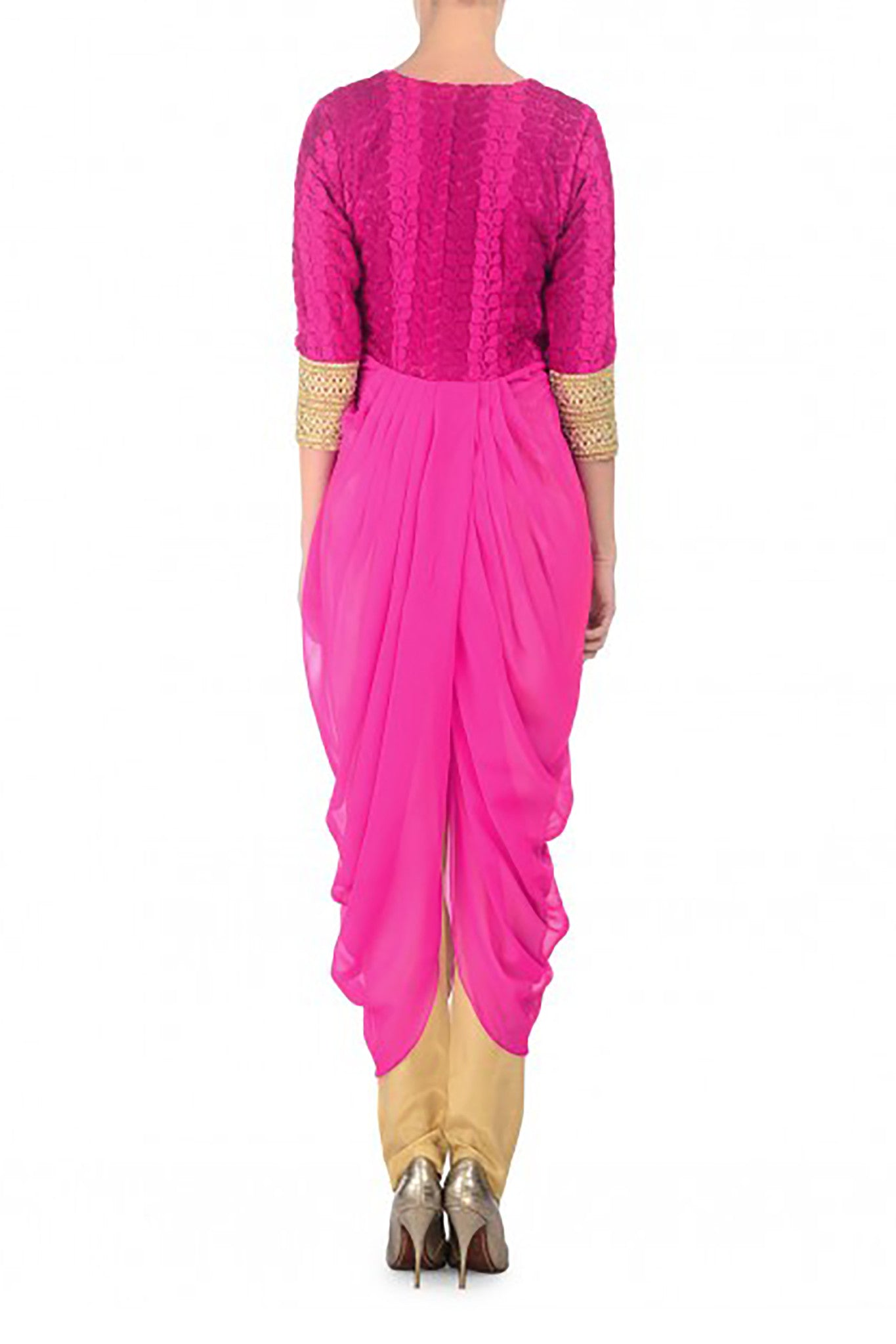 Fuchsia Trouser Suit Back