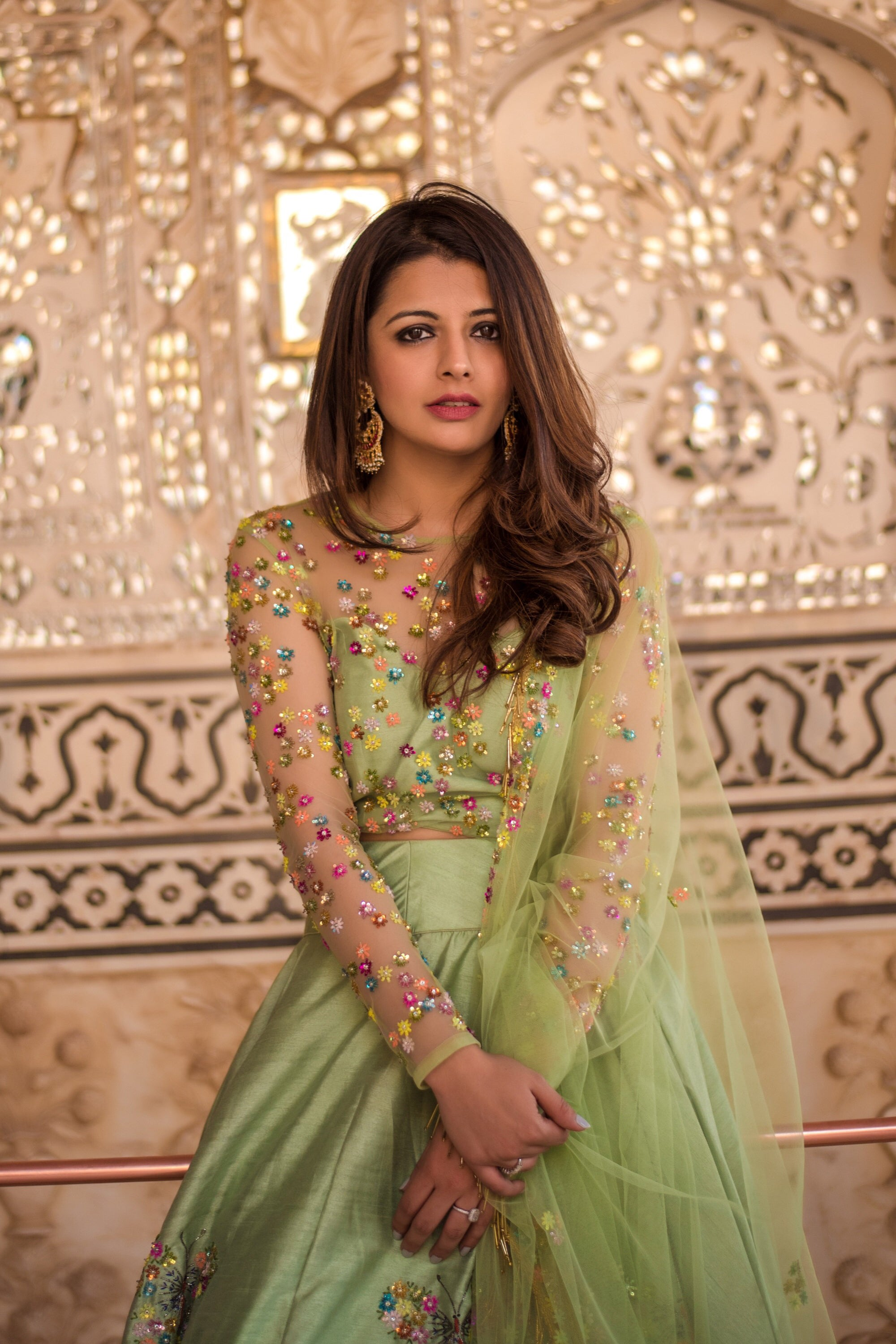 Tea Green Butterfly Lehenga With Embroidered Blouse & Dupatta
