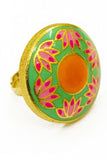Bright Green & Pink Lotus Ring