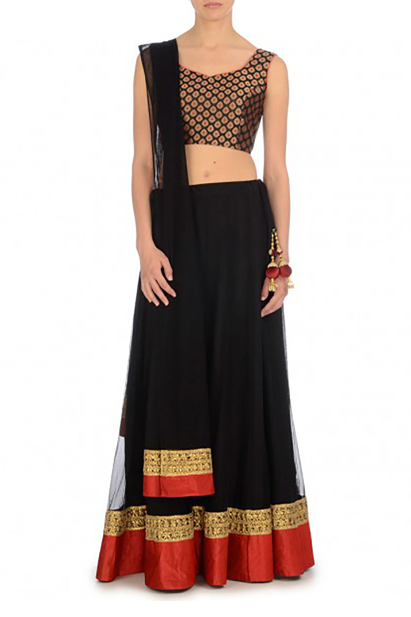 Black & Red Lehenga Front