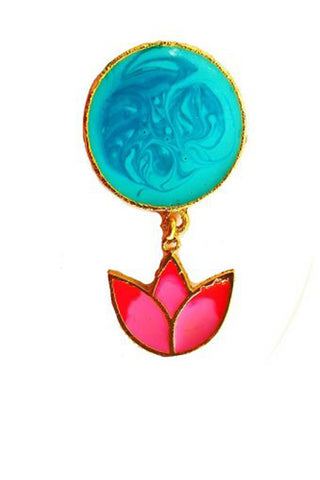 Blue & Pink Lotus Charm Rings