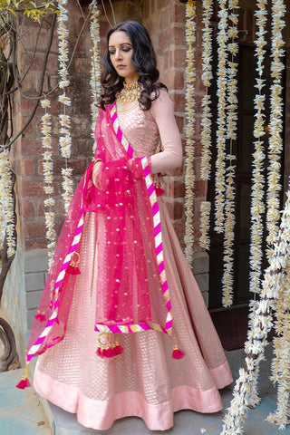 Pink Chanderi Anarkali SIDE