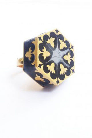 Black & Gold Arabesque Ring