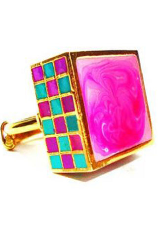 Turquoise & Purple Jali Ring