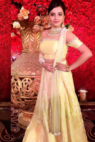 Yellow Blouse & White Lehenga