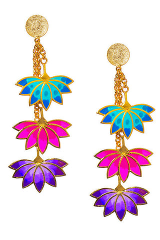 Pink Turquoise Three Lotus Earring