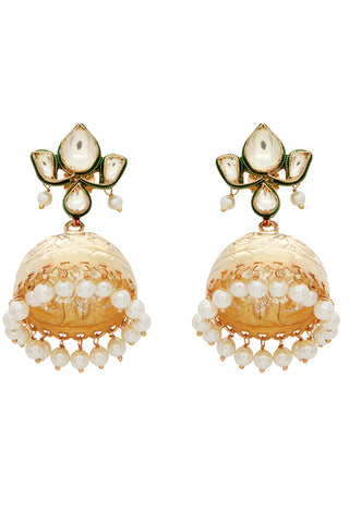 White & Gold Zoahib Jhumki Earring