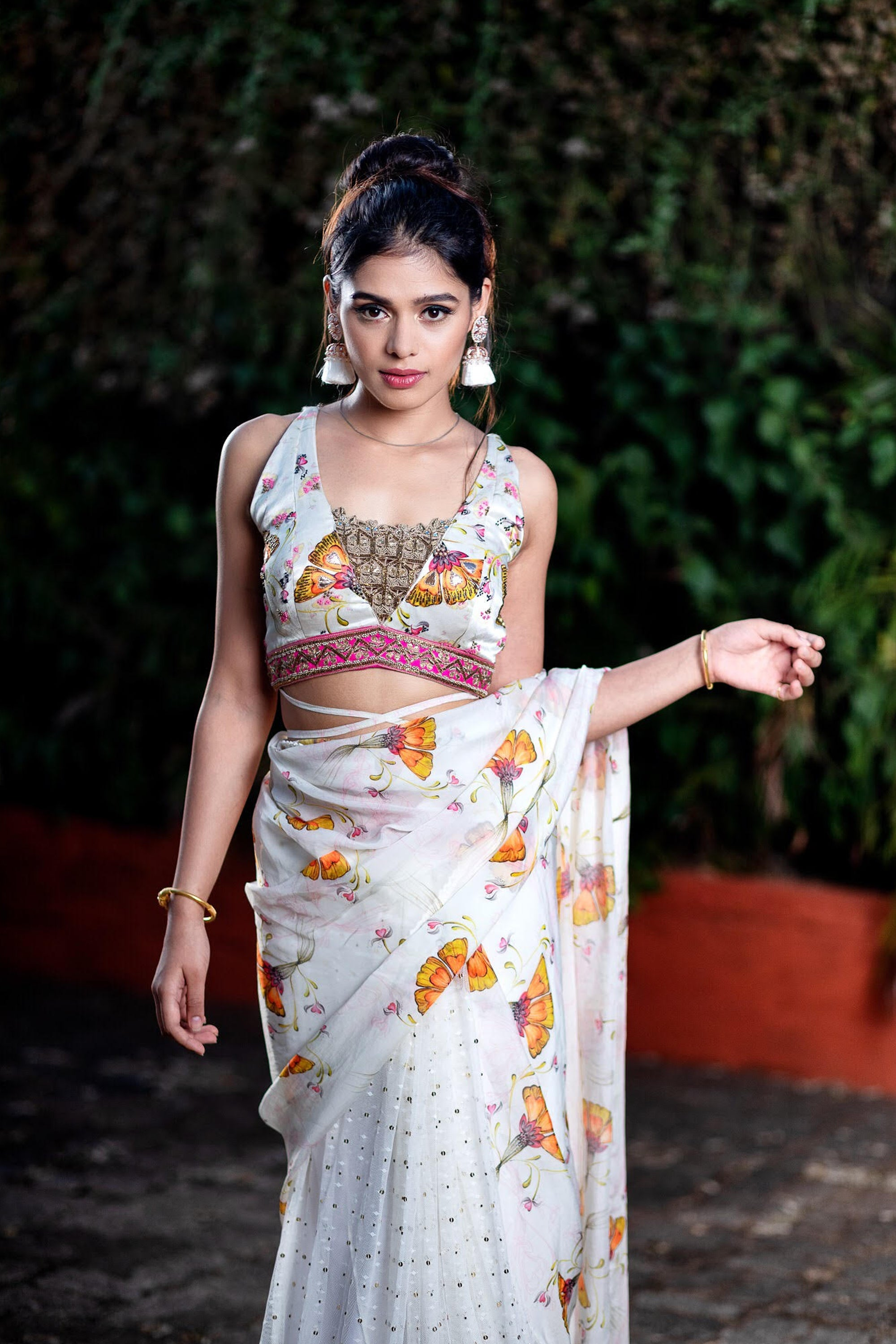 Half & Half Printed Saree With Embroideried Blouse CLOSE
