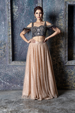 Black Blouse With Gold Sequin Skirt & Dupatta FRONT